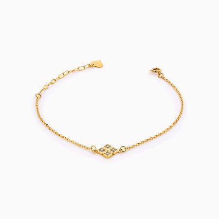 دستبند طلا 18 عیار زنانه زنجیری مدل چهار گل کد BL0273