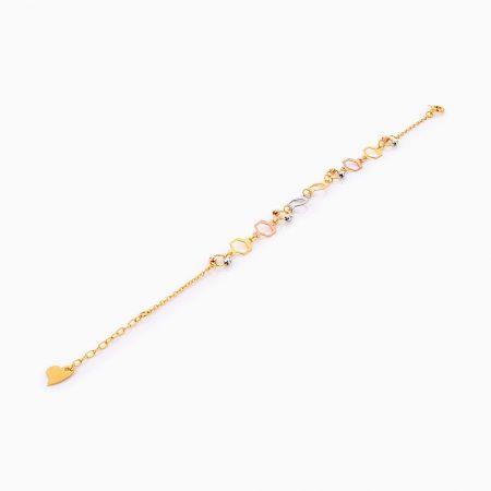 دستبند طلا 18 عیار زنانه زنجیری مدل گوی و شش ضلعی کد BL0274
