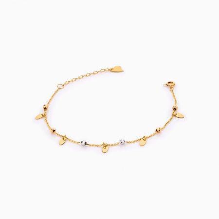 دستبند طلا 18 عیار زنانه زنجیری مدل گوی و پولک کد BL0275
