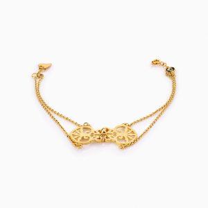 دستبند طلا 18 عیار زنانه زنجیری مدل اسلیمی کد BL0278