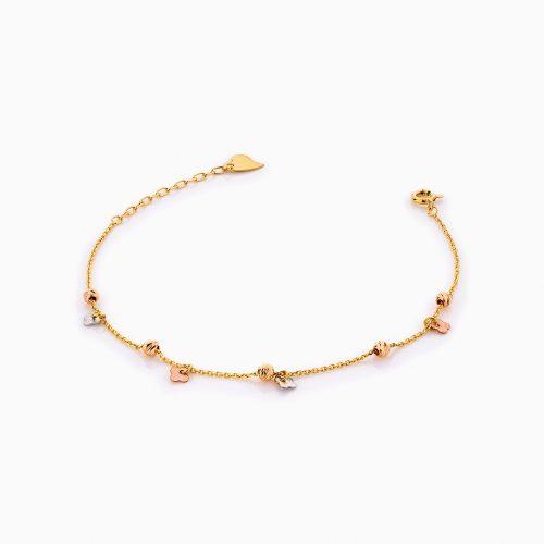 دستبند طلا 18 عیار زنانه زنجیری مدل گوی و آویز گل کد BL0279