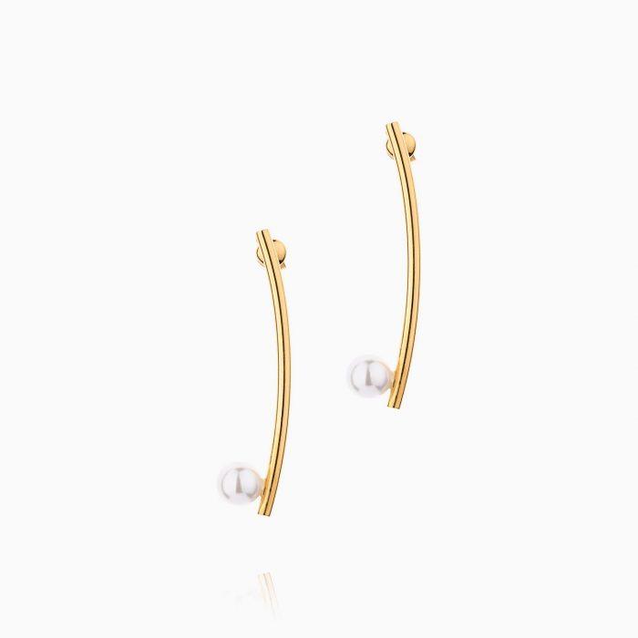 گوشواره طلا 18 عیار زنانه اسپورت با سنگ مروارید مدل شاخه تک مروارید کد ER0145