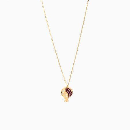 گردنبند طلا 18 عیار زنانه زنجیری مدل آویز انار یلدا کد NL0172