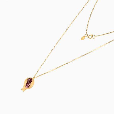 گردنبند طلا 18 عیار زنانه زنجیری مدل آویز انار یلدا کد NL0173