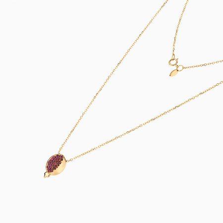 گردنبند طلا 18 عیار زنانه زنجیری مدل آویز انار یلدا کد NL0174
