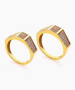 حلقه ست طلا 18 عيار نگين دار کد RG0269