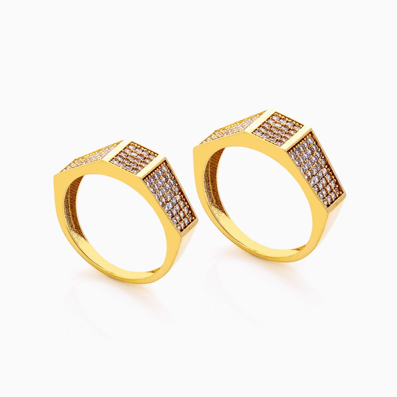 حلقه ست طلا 18 عیار نگین دار کد RG0269