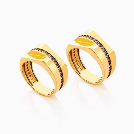 حلقه ست طلا 18 عيار نگين دار کد RG0273