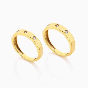 حلقه ست طلا 18 عيار نگين دار کد RG0274