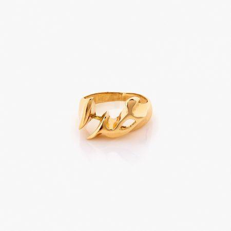 انگشتر طلا 18 عیار زنانه مدل نام خدا کد RG0309