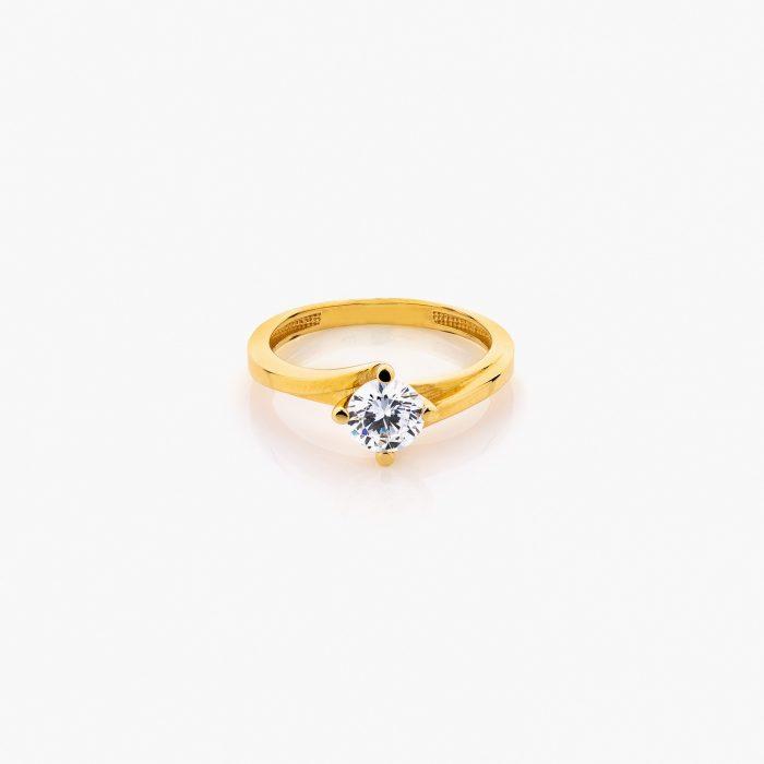 انگشتر طلا 18 عیار زنانه سولیتر با نگین اتمی مدل پایه چنگکی کد RG0310