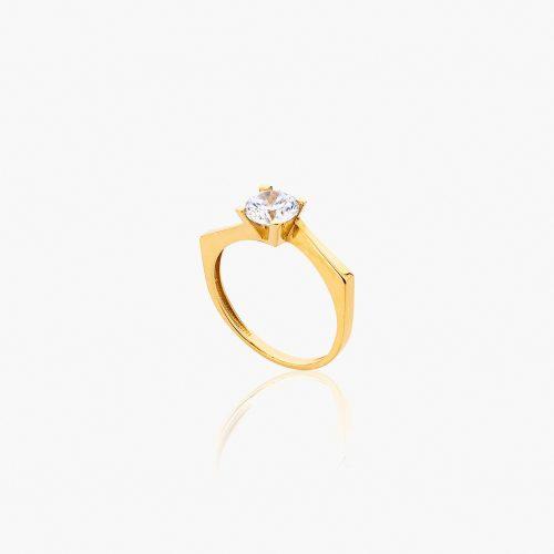 انگشتر طلا 18 عیار زنانه سولیتر با نگین اتمی مدل پایه چنگکی طرح دار کد RG0312