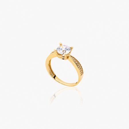 انگشتر طلا 18 عیار زنانه سولیتر با نگین اتمی مدل پایه چنگکی نگین دار کد RG0314