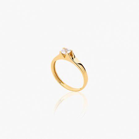 انگشتر طلا 18 عیار زنانه سولیتر با نگین اتمی مدل پایه چنگکی ساده کد RG0316