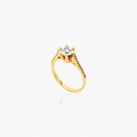 انگشتر طلا 18 عیار زنانه سولیتر با نگین اتمی مدل پایه چنگکی نگین دار کد RG0317