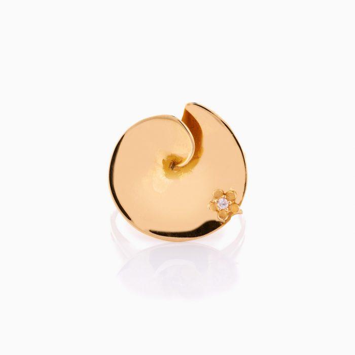 انگشتر طلا 18 عیار زنانه فانتزی مدل نیلوفرآبی کد RG0320
