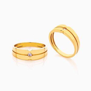 حلقه ست طلا 18 عیار با نگین اتمی مدل شیار دار تک نگین کد RG0330