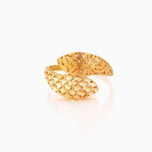 انگشتر طلا 18 عیار زنانه مدل اسلیمی چپ و راستی کد RG0334