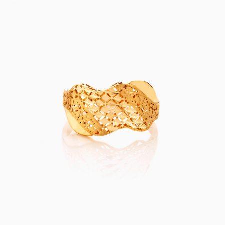 انگشتر طلا 18 عیار زنانه مدل اسلیمی موج دار کد RG0335