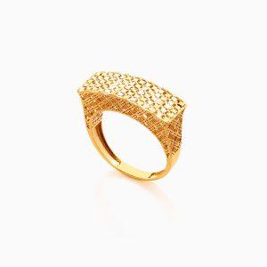 انگشتر طلا 18 عیار زنانه مدل اسلیمی تاج مستطیلی کد RG0336
