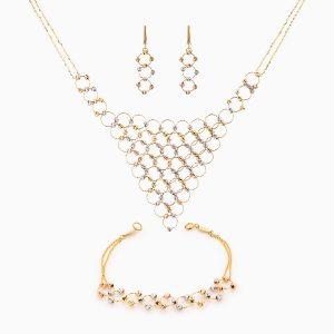 سرویس طلا 18 عیار زنانه زنجیری مدل آلبرنادو کد ST0090