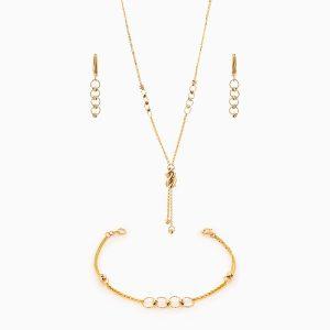 سرویس طلا 18 عیار زنانه زنجیری مدل آلبرنادو کد ST0091