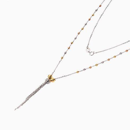 گردنبند طلا 18 عیار زنانه زنجیری مدل آلبرنادو آویز دار کد NL0182