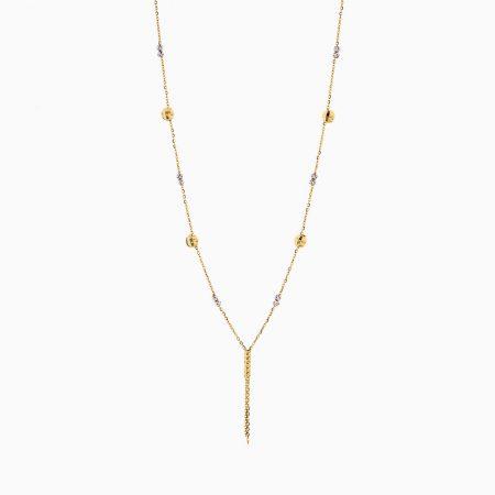 گردنبند طلا 18 عیار زنانه زنجیری مدل آلبرنادو آویز دار کد NL0183