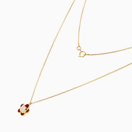 گردنبند طلا 18 عیار بچه گانه زنجیری مدل آویز کیتی کد NL0188