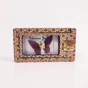 گردنبند طلای پروانه ای مدل ارغوانی رنگ کد pd0404