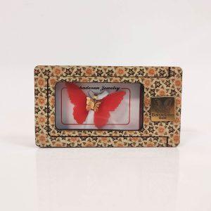 گردنبند طلای پروانه ای مدل قرمز رنگ کد pd0401