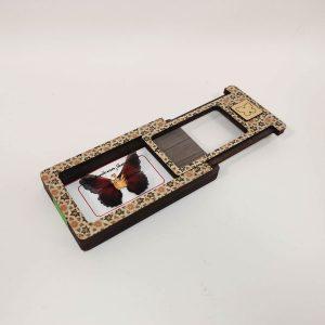گردنبند طلای پروانه ای مدل انابی مشکی رنگ کد pd0402