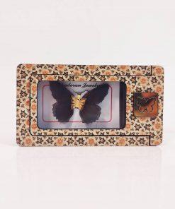 گردنبند طلای پروانه ای مدل ارغوانی تیره رنگ کد pd0420