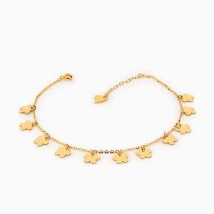 پابند طلا 18 عیار زنانه زنجیری مدل آویز گل کد AL0085