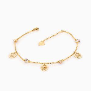 پابند طلا 18 عیار زنانه زنجیری مدل گوی و آویز گل کد AL0086