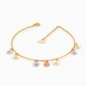 پابند طلا 18 عیار زنانه زنجیری مدل آویز پولک قلب کد AL0087