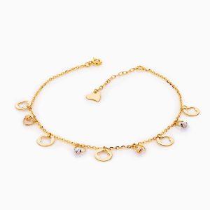 پابند طلا 18 عیار زنانه زنجیری مدل ونکلیف کد AL0088