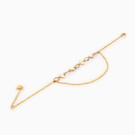 پابند طلا 18 عیار زنانه زنجیری مدل گوی و پولک هندسی کد AL0089