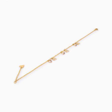 پابند طلا 18 عیار زنانه زنجیری مدل آویز گوی و گل کد AL0090