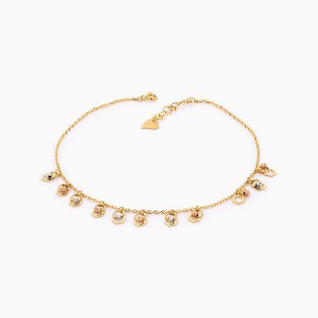 پابند طلا 18 عیار زنانه زنجیری مدل ونکلیف کد AL0092
