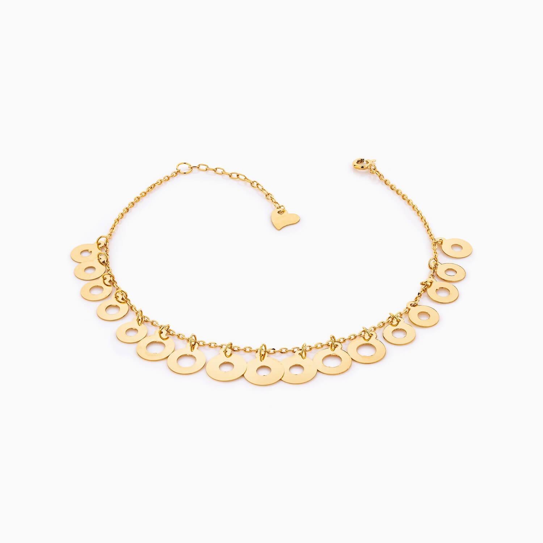 پابند طلا 18 عیار زنانه زنجیری مدل آویز پولک طرح دار کد AL0093