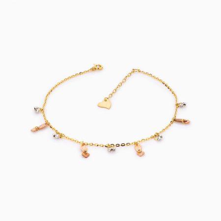 پابند طلا 18 عیار زنانه زنجیری مدل آویز گوی وپولک طرح دار کد AL0094