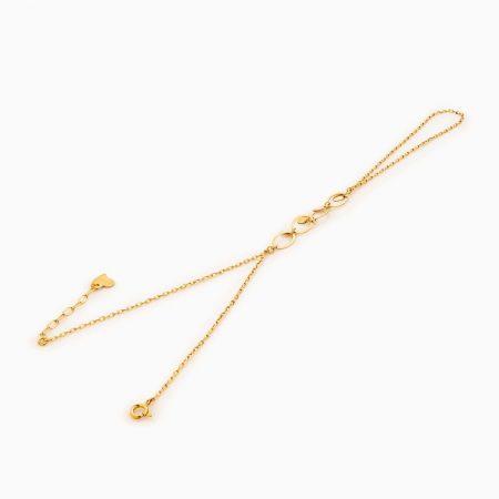 تمیمه طلا 18 عیار زنانه زنجیری مدل آویز پولک و حلقه بیضی کد BL0294
