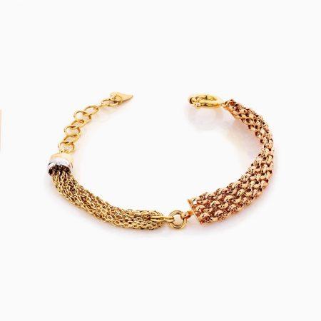 دستبند طلا 18 عیار زنانه زنجیری مدل بافت زنجیر کد BL0297