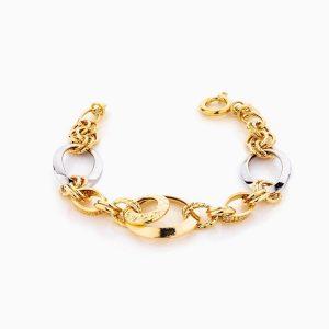 دستبند طلا 18 عیار زنانه مدل کارتیر وسط حلقه دار کد BL0298