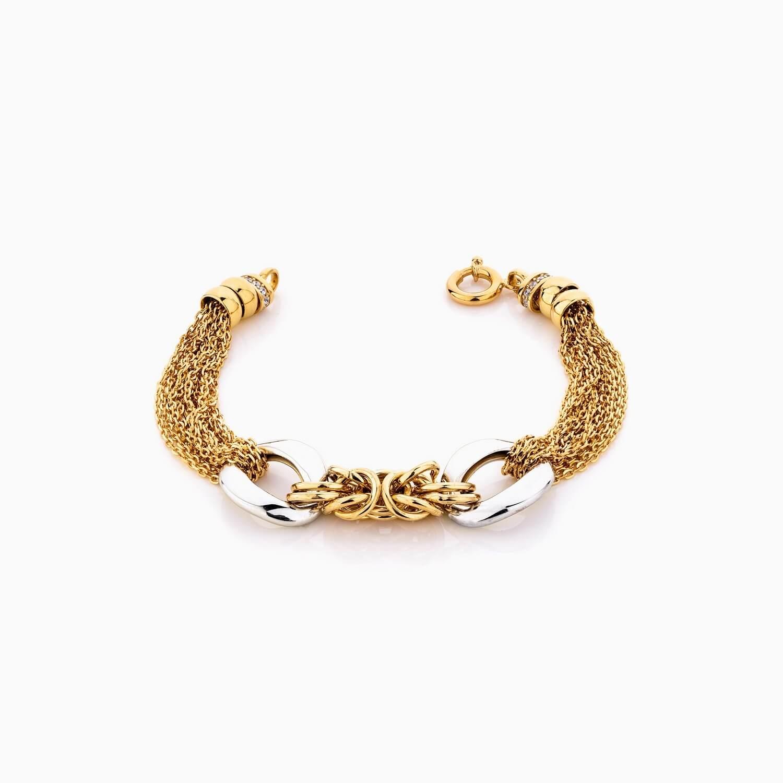 دستبند طلا 18 عیار زنانه مدل کارتیر زنجیری کد BL0302