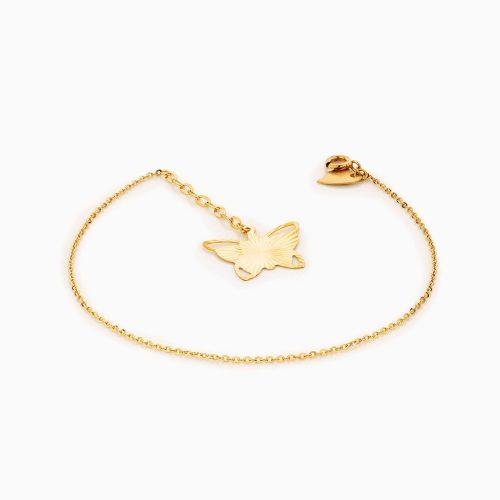 دستبند طلا 18 عیار زنانه فانتزی مدل پروانه فانتزی کد BL0319