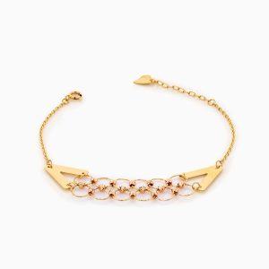 دستبند طلا 18 عیار زنانه فانتزی مدل گوی وحلقه پیوسته کد BL0322