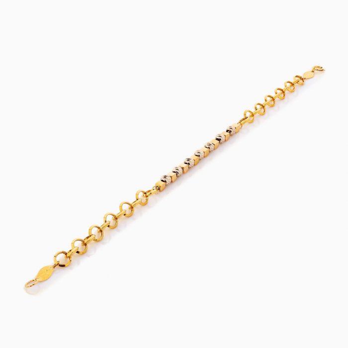 دستبند طلا 18 عیار زنانه زنجیری مدل گوی و مکعب کد BL0327