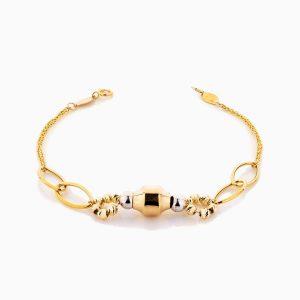 دستبند طلا 18 عیار زنانه زنجیری مدل طرح هندسی کد BL0329